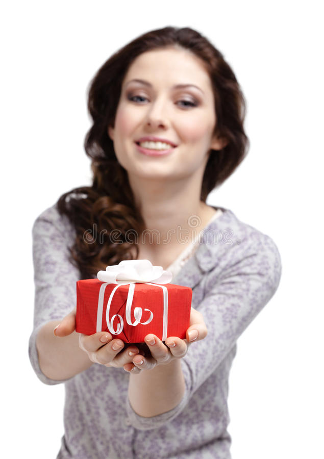Young Woman Reaches Out A Present Stock Image