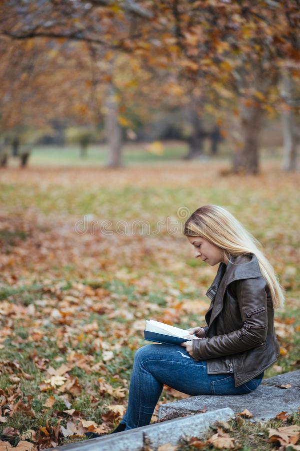 Young woman reading a book in a park in autumn royalty free stock image