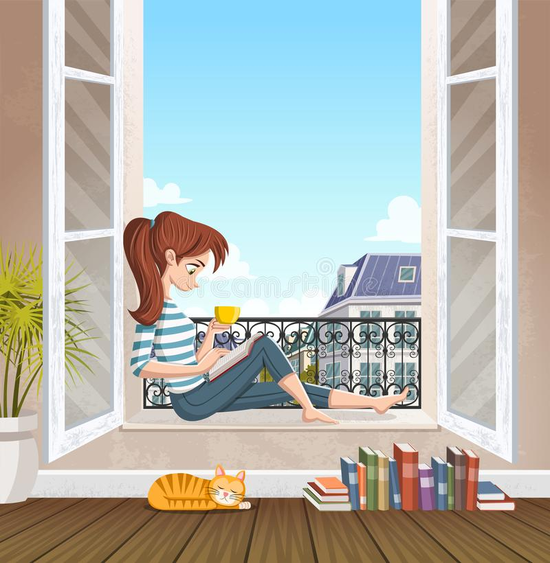 Young woman reading book in the window. Drinking tea and reading in the city. vector illustration