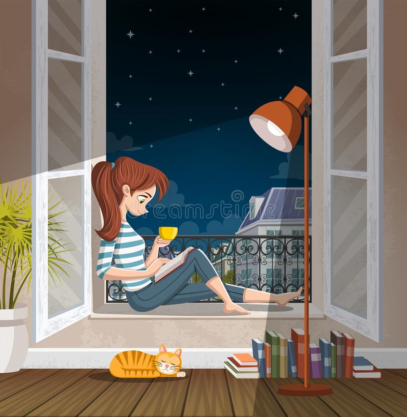 Young woman reading book in the window at night. Drinking tea and reading in the city. vector illustration