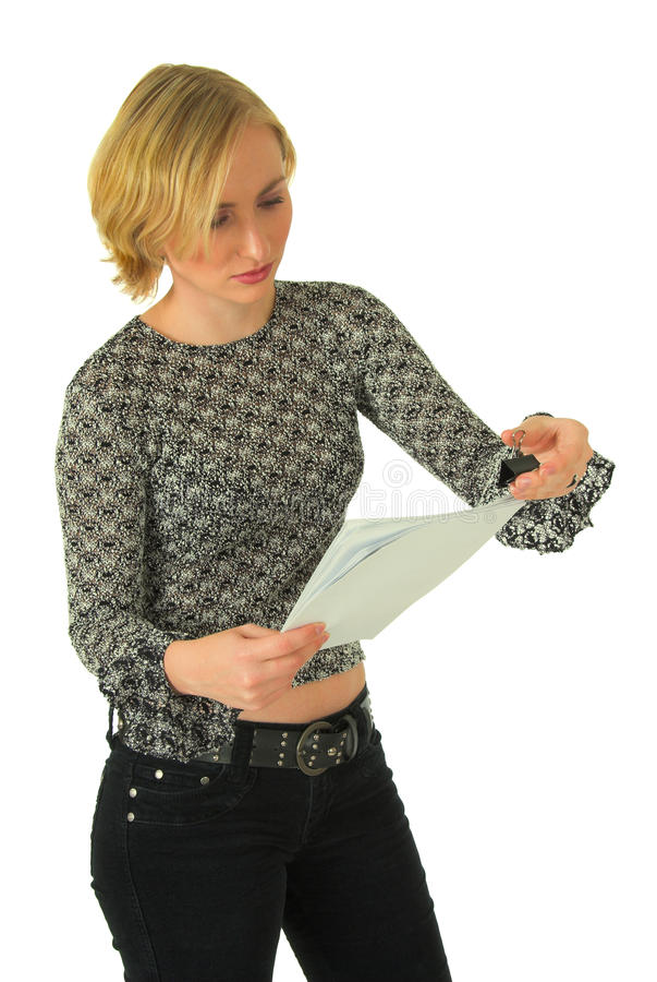 Young woman reading letter stock photo