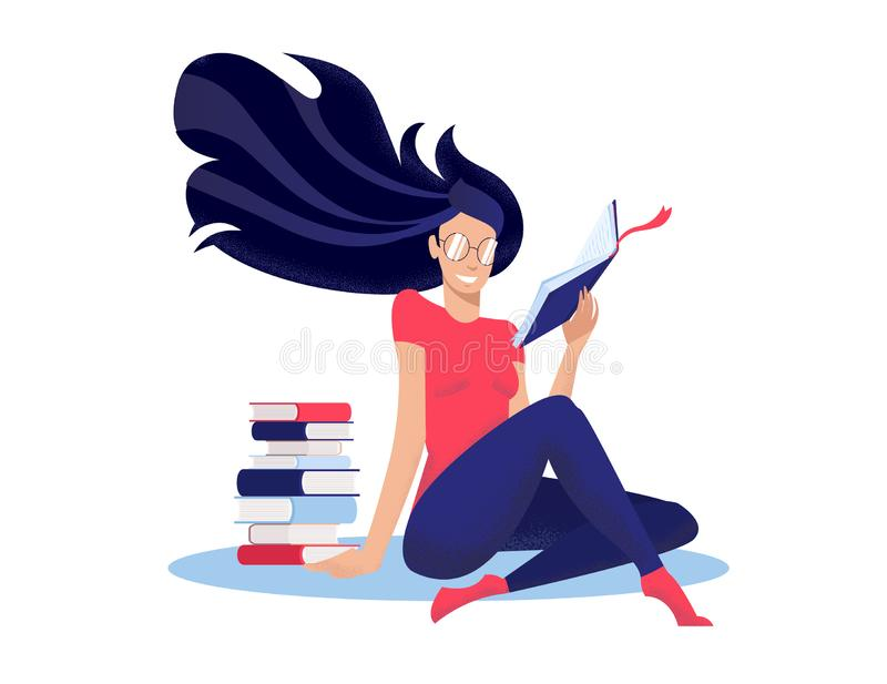 Young woman reads book, sitting on floor cross-legged nwet to stack of books. Round glasses on face, long dark hair fluttering. stock illustration