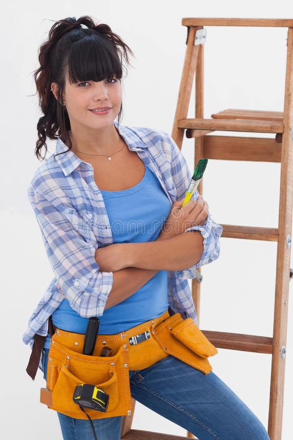 Download Young Woman Ready For Home Improvement Stock Image - Image: 32515101