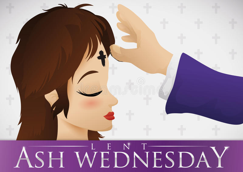 Young Woman Receiving the Ash Cross on Ash Wednesday, Vector Illustration royalty free stock photos