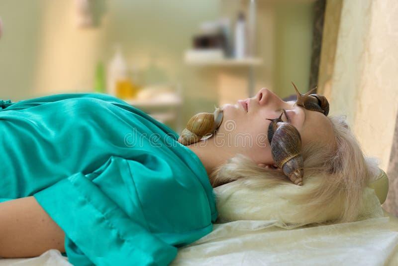 Young woman receiving snail facial massage. stock photos