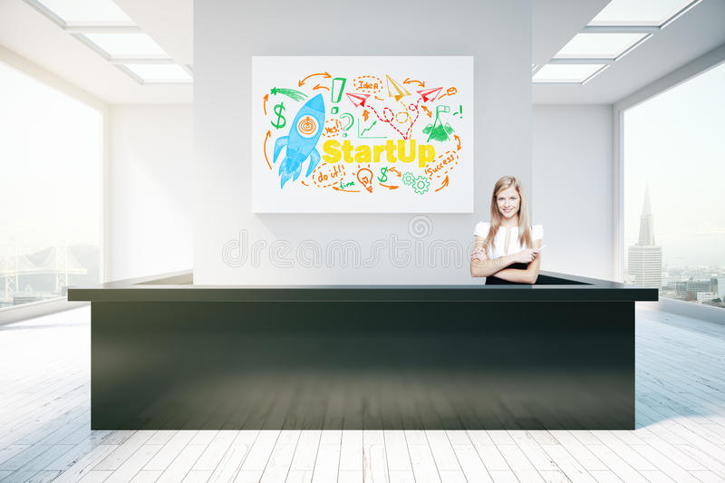 Young woman at reception desk. Young woman at modern reception desk with rocket sketch on poster above. Start up concept, 3D Rendering vector illustration