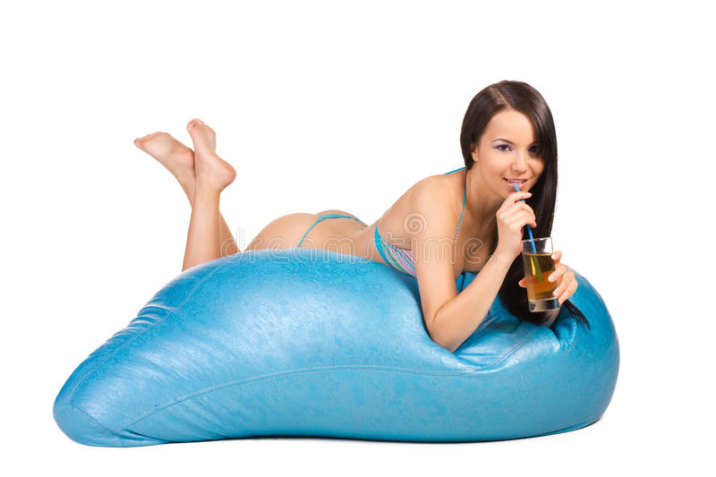 Young woman recreation on a air matrass stock images