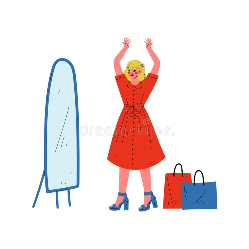Young Woman in Red Dress Looking at Mirror, Beautiful Girl Shopping at Store, Mall or Shop Vector Illustration royalty free illustration