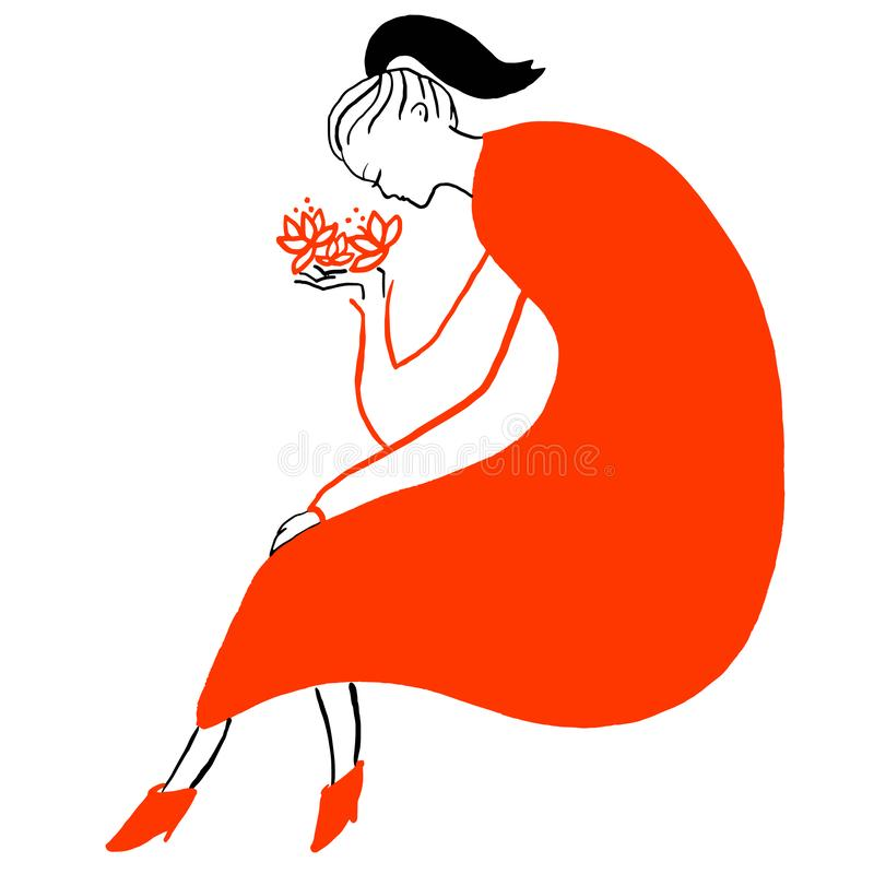 Young woman in red dress with red flowers in her hand stock illustration