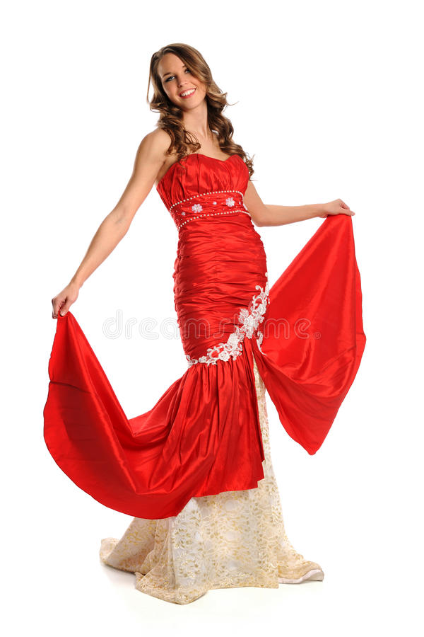 Download Young Woman In Red Gown stock image. Image of hair, long - 20420645