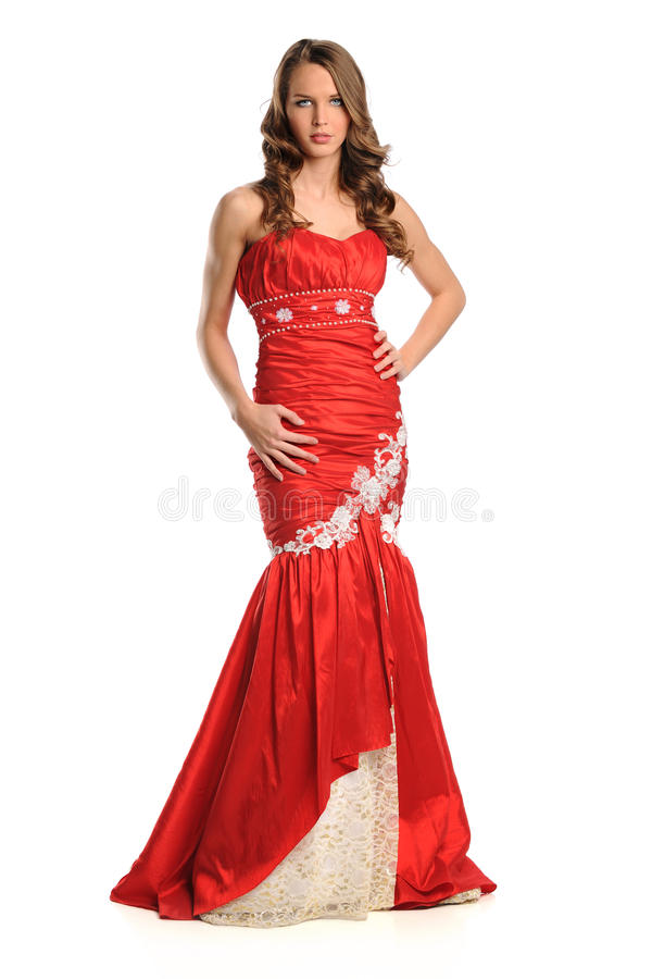 Download Young Woman In Red Gown Royalty Free Stock Photo - Image: 25847665