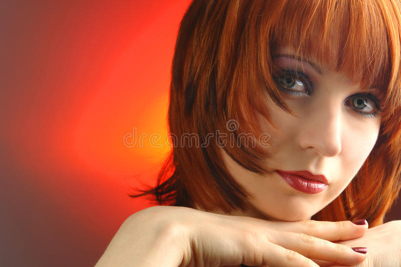 Young woman with red hair. Portrait stock photo