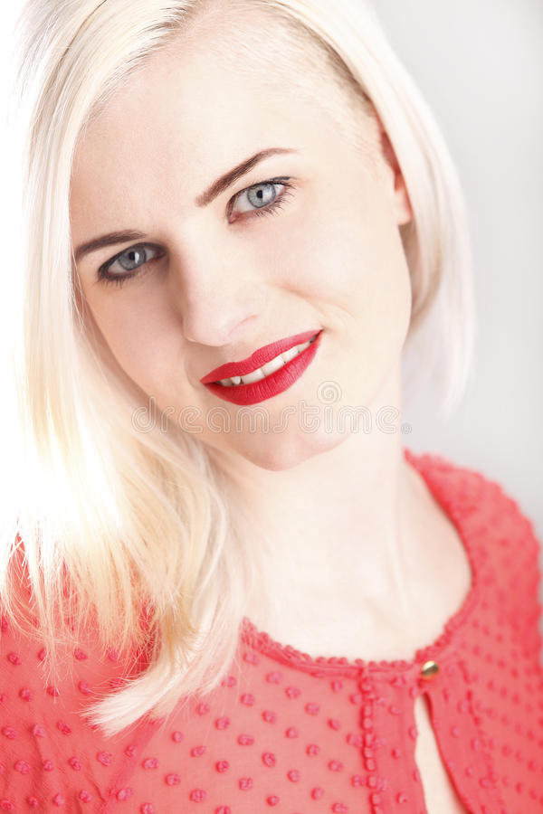 Download Young woman with red lips stock photo. Image of hair - 39505174