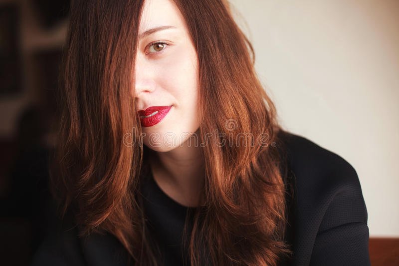 Young woman with red lipstick royalty free stock images