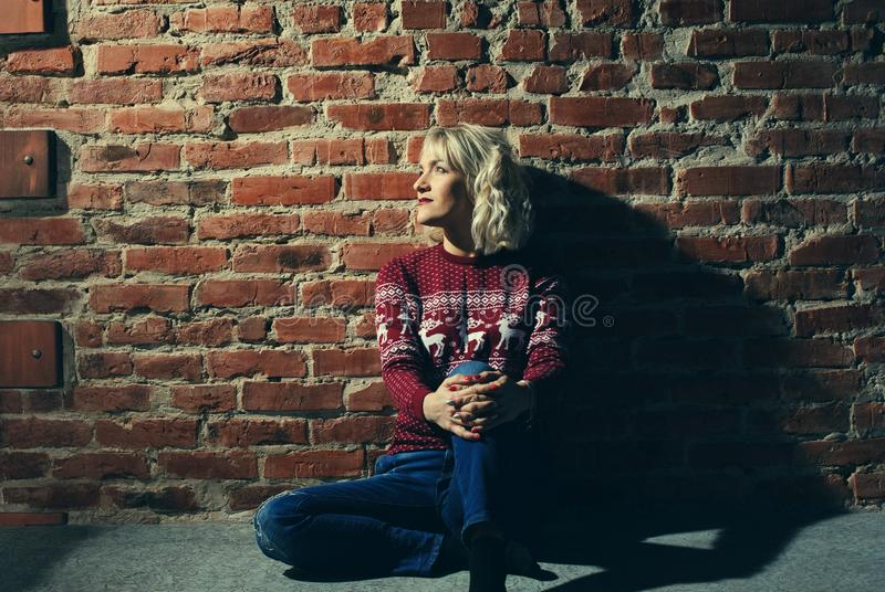 young woman in red pullover near the brick wall stock photo