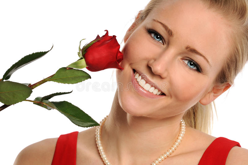 Download Young Woman With Red Rose Royalty Free Stock Photos - Image: 23061368