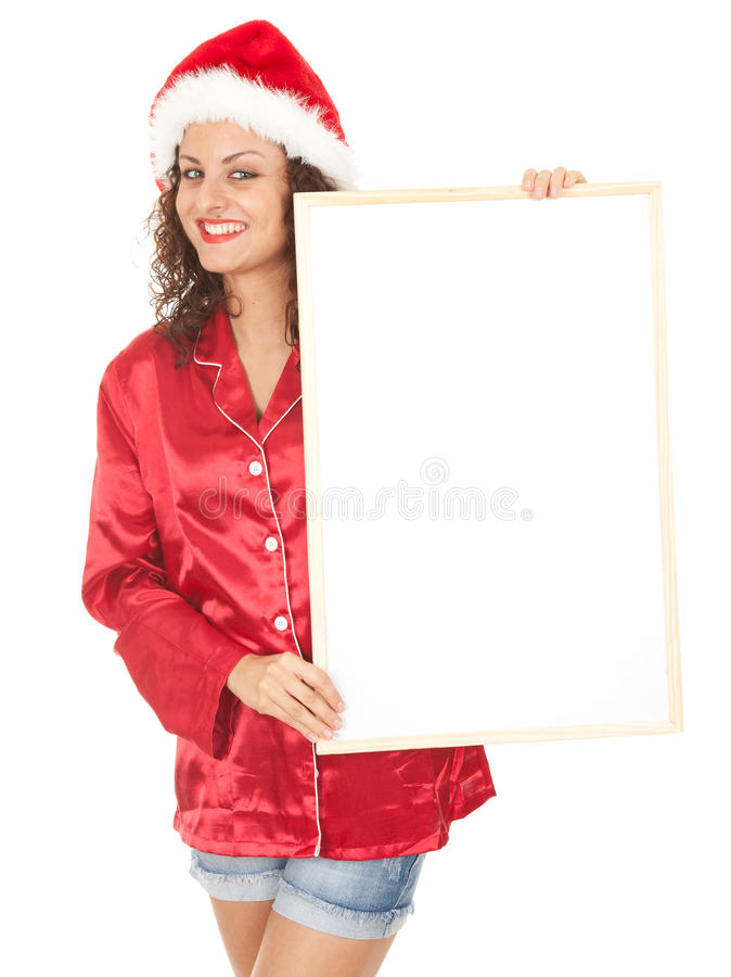 Download Young Woman In Red Santa Hat With Blank Poster Stock Photo - Image: 21234038
