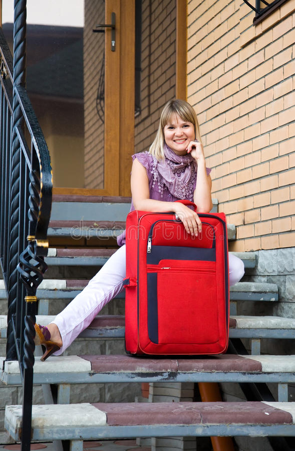 Download Young Woman With A Red Suitcase Stock Image - Image of attractive, smiling: 20846289