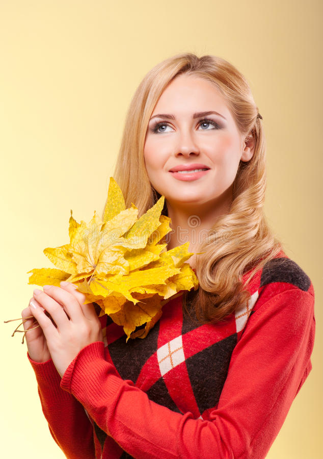 Download Young woman in red sweater stock photo. Image of happiness - 22330988