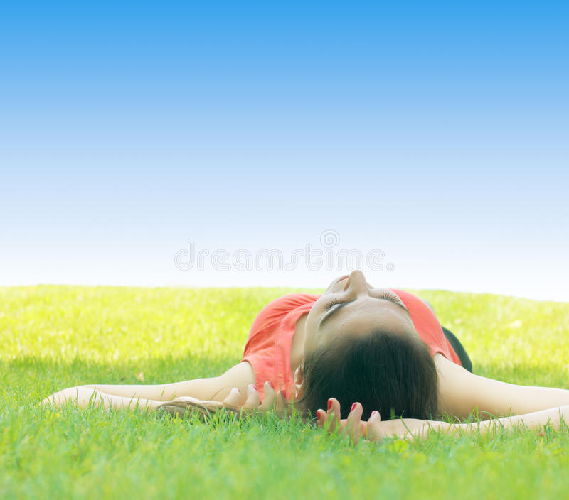 Young woman relaxing stock photos