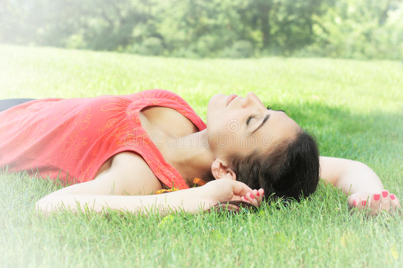 Young woman relaxing stock images