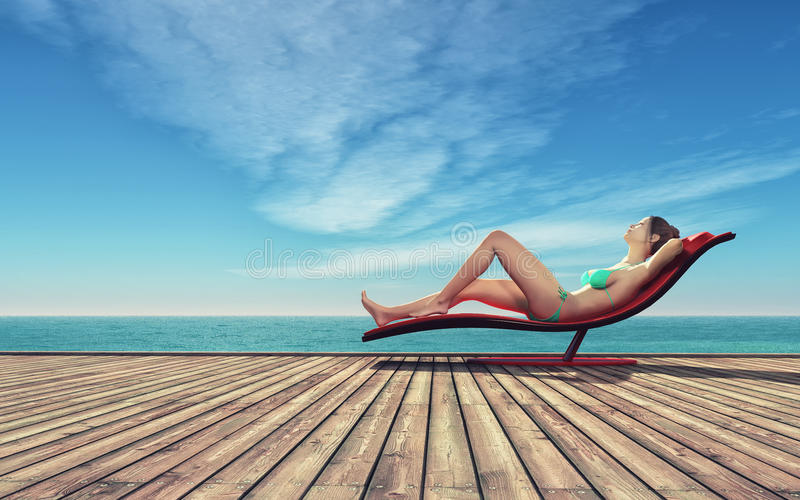 Young woman relaxing royalty free illustration