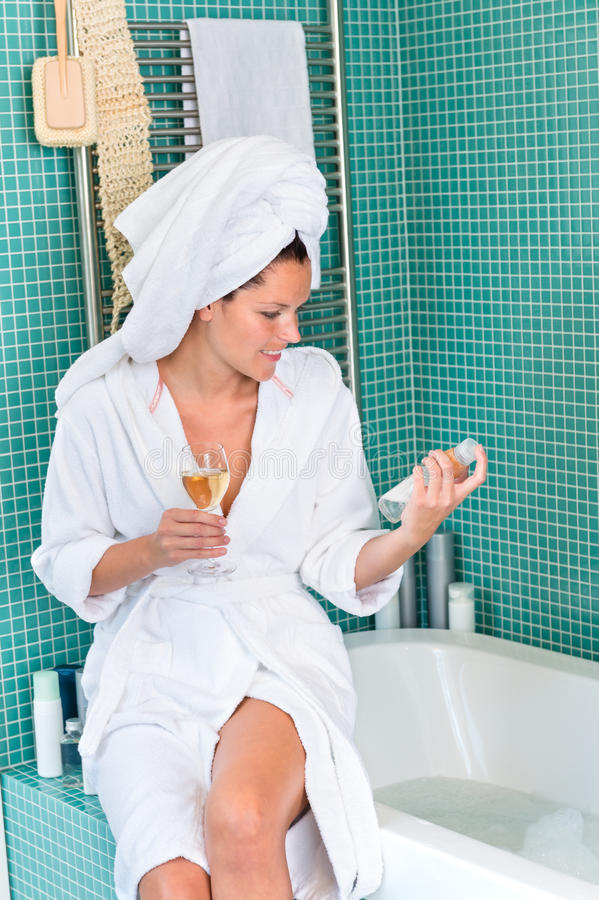 Young woman relaxing bathroom spa treatment bathtub stock image