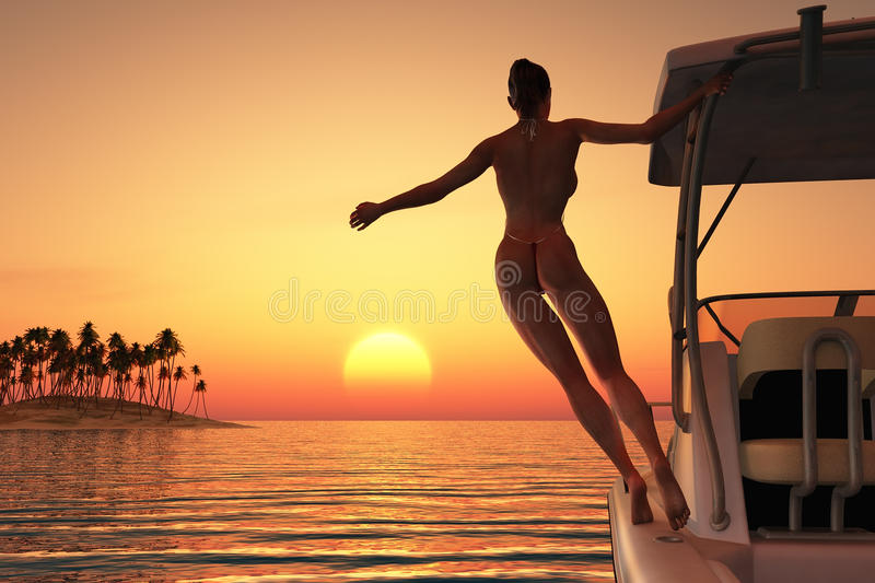 Young woman relaxing on a boat stock illustration