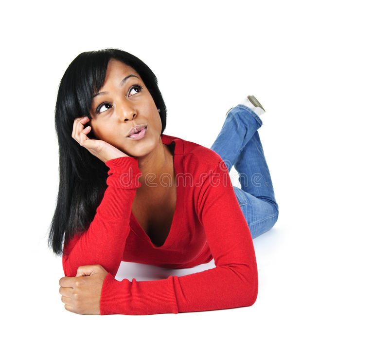Young woman relaxing looking up stock images