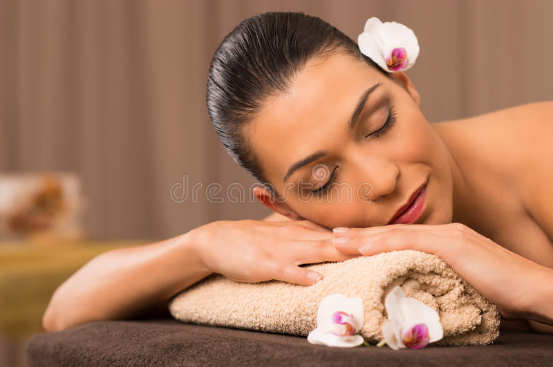 Download Young Woman Relaxing At Spa Stock Photo - Image: 35891152