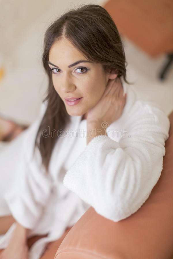 Young woman relaxing in the spa stock photography