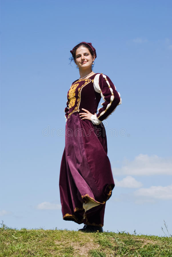 Young woman in renaissance dress royalty free stock photography