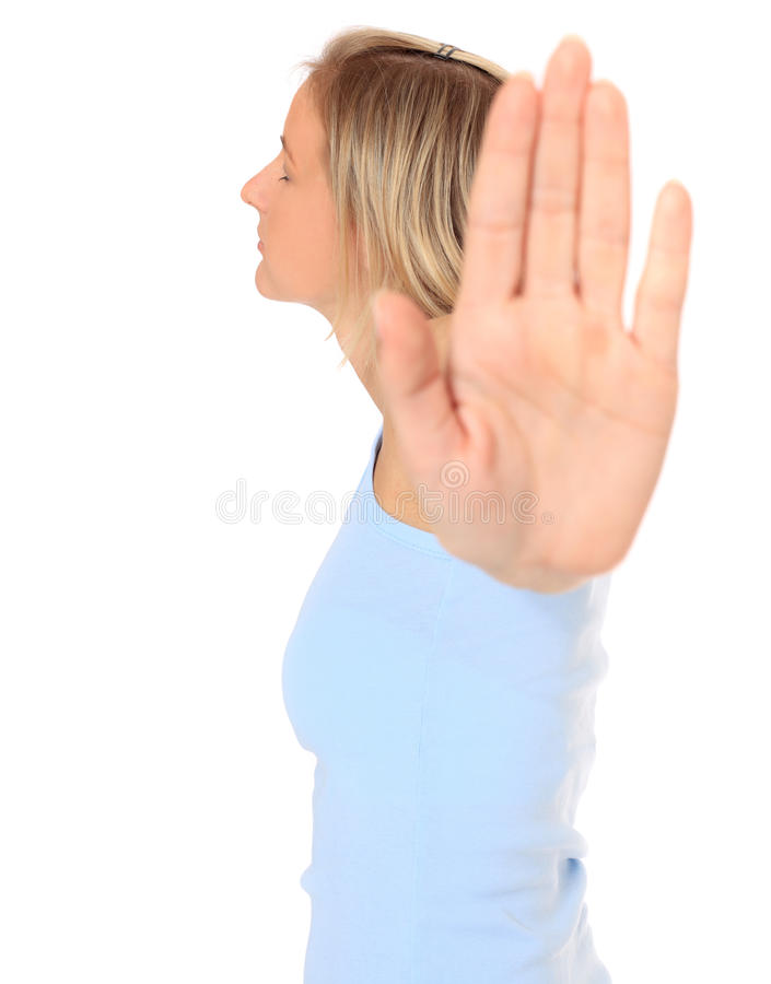Young woman with repelling gesture stock photo