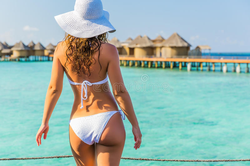 Young woman on resort royalty free stock photo