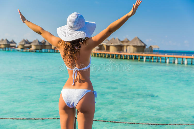 Young woman on resort royalty free stock photos