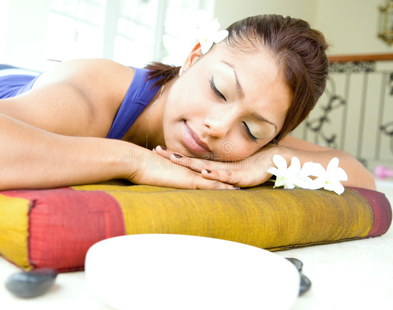 Download Young Woman Resting On Massage Bed Stock Image - Image: 5700975