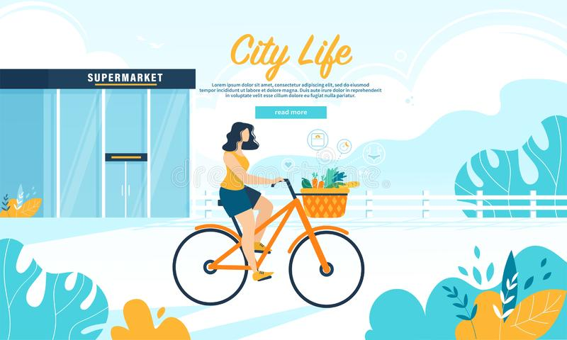 Young Woman Ride Bike with Healthy Food in Basket royalty free illustration
