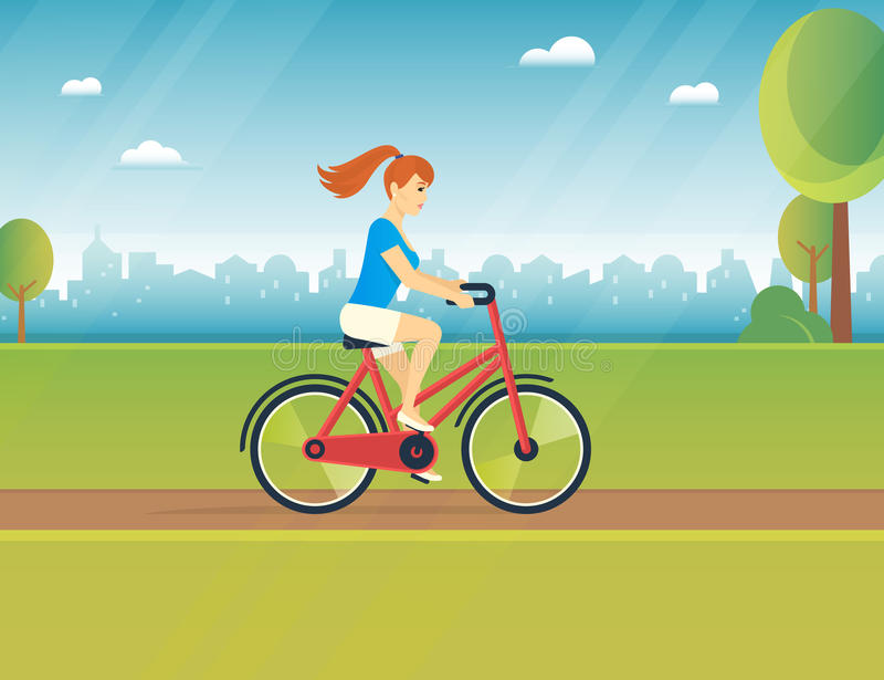 Young woman rides white bicycle. In the park in spring season. Flat color illustration of teenage healthy leisure and freedom royalty free illustration
