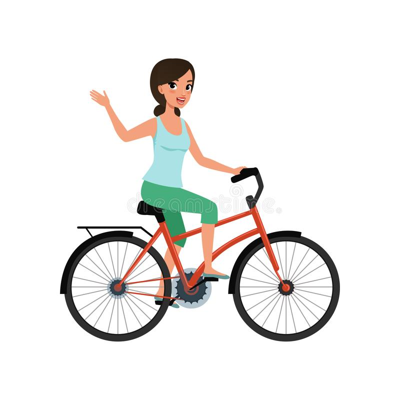 Young woman riding a bike and waving her hand, active lifestyle concept vector Illustrations on a white background. Young woman riding a bike and waving her hand stock illustration