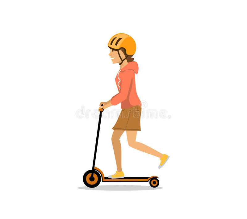 Young woman riding electric kick scooter vector illustration