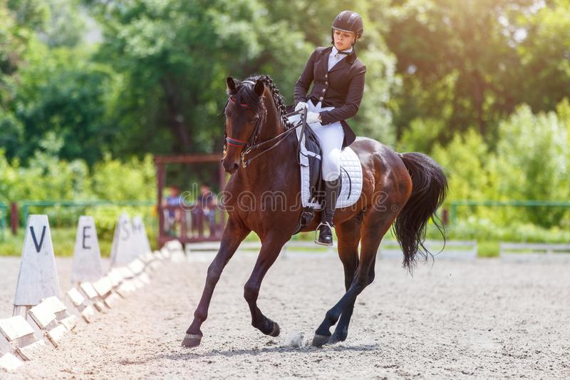 Young woman riding horse on dressage advanced test. Young woman riding horse on equestriansport competition in dressage advanced test stock photo