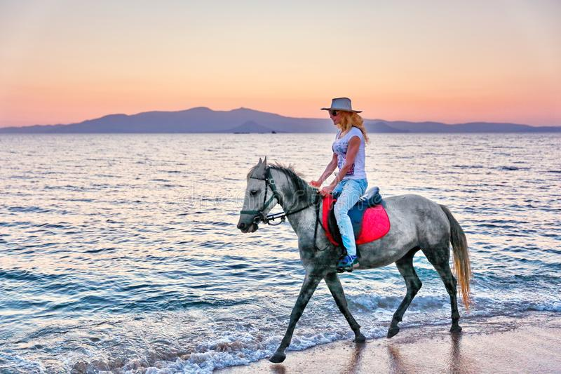 Young woman riding a horse royalty free stock photography