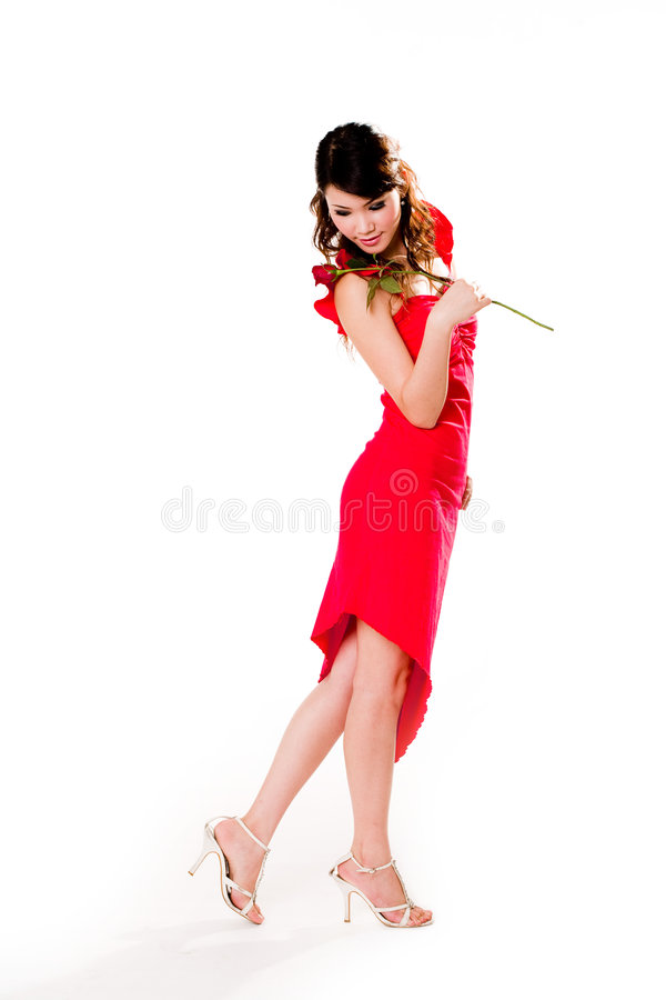 Download Young woman with a rose stock image. Image of female, arousing - 4024249