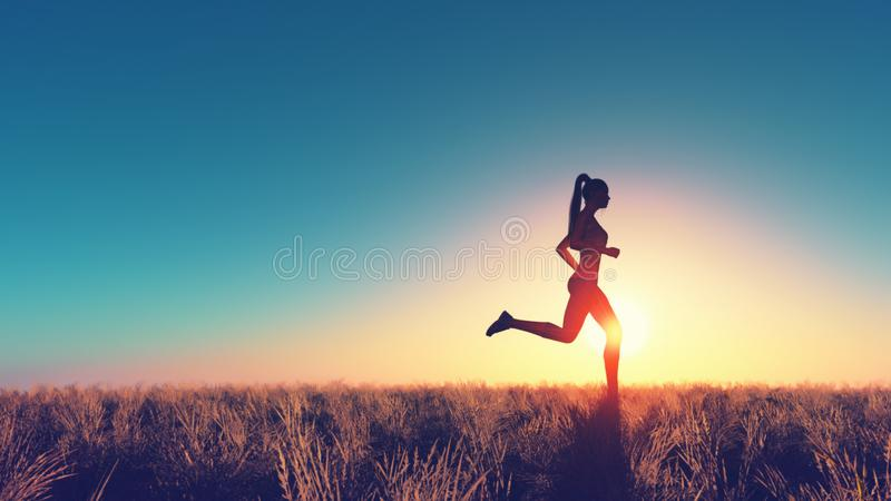 Young woman running vector illustration