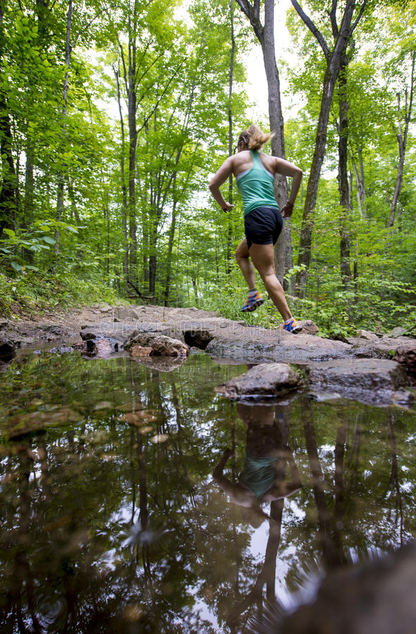 Young woman running forest trail past a stream with reflection in water stock image