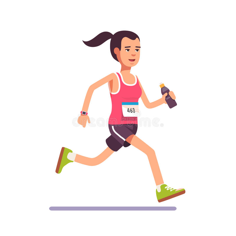 Young woman running a marathon. With water bottle in hand and number on her chest. Flat style modern vector illustration vector illustration