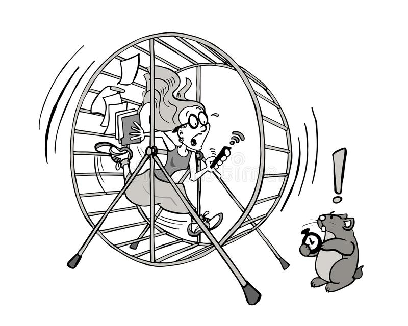 Young woman running out of time in her hamster wheel job in black and white. A young woman running after time inside of a hamster wheel job as a metaphor of a royalty free illustration