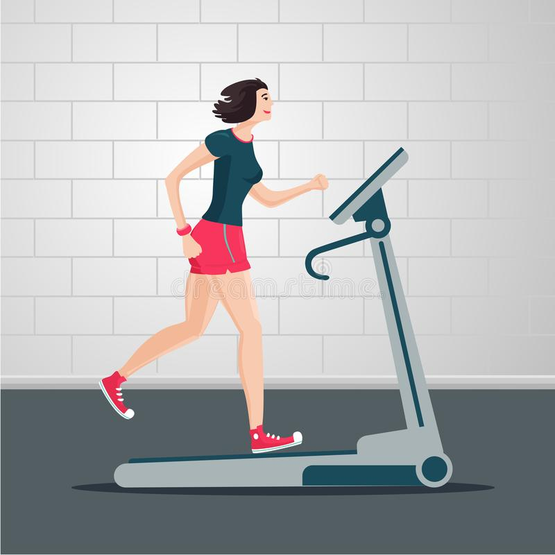 Young woman is running on a treadmill. Indoor exercise cartoon flat illustration. Sport people vector clipart. Female runner on a track. Young woman is running royalty free illustration