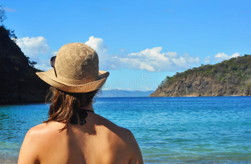 Young Woman S Back Looking At The Sea Stock Images