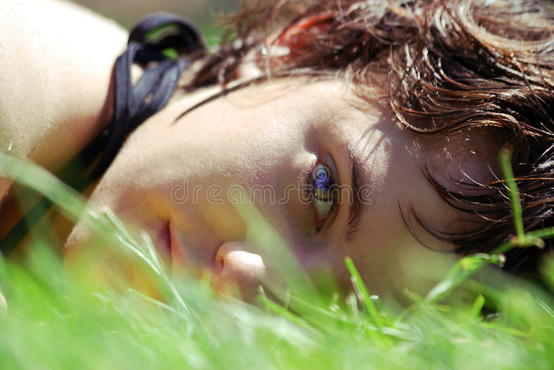 Young woman's face. Close-up on the face of a beautiful young woman, with wet hairs, slept on the grass under the summer sun stock images